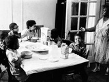African American Mother Serves Six Children Breakfast of Corn Flakes and Milk  NY's Harlem District