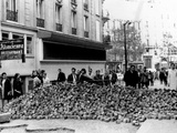 Stone Barricade in Paris' Latin Quarter During the May 1968 General Strike  Paris  May 26  1968