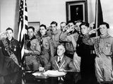 Pres Franklin Roosevelt and Honor Scouts on 27th Anniversary of Boy Scouts Founding  Feb 8  1937