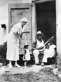 First Lady Eleanor Roosevelt Chatting with the Winn Family  of Christiansted  St Croix