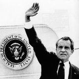 The Presidental Seal at Shoulder for Last Time  Pres Richard Nixon Exits Washington  Aug 9  1974