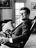 Pres Kennedy Sits in Rocking Chair in Oval Office of White House on 46th Birthday  May 29  1963