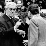 Pres Richard Nixon Listens to John Connally  Treasury Secy  on Historic Trip to China  Feb 17  1972