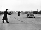 East Berlin Customs Police Stopping a Volkswagen on Charlettenburger Chaussee  Oct 26  1952