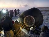 Soyuz TMA-02M Spacecraft Is Opened by Russian Land Crew in Kazakhstan