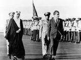 Pres Richard Nixon and King Faisel Review During Arrival Ceremonies  Saudi Arabia  Jun 15  1974