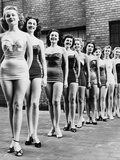 Miss New York City Beauty Contestants Line Up Atop a City Hotel in 1952