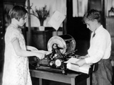 School Children Work on a Mimeograph Machine