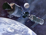 Painting of Apollo-Soyuz Test Project  Docking of US's Apollo Capsule and USSR's Soyuz Spacecraft