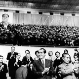 Pres Richard Nixon and Premier Chou En-Lai Applaud Chinese Athletes
