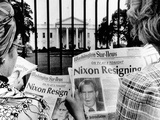 Tourists in Front of the White House Read Headlines  'Nixon Resigning ' Aug 8  1974