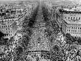 Thousands of Demonstrators Fill Champs Elysees  Answering Pres Charles De Gaulle's Call for Support