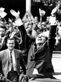 Pres Richard Nixon Jubilantly Acknowledges Cheers of House Dwellers in Bucharest  Aug 2  1969