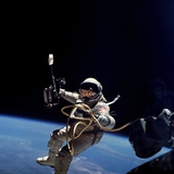 Astronaut Edward White Floating Weightless During the First US Spacewalk  June 3  1965