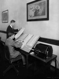 Stock Brokers with a New Box Shaped Stock Ticker in May 1929