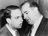 Senator Joseph McCarthy and His Chief Consul  Roy Cohn Whispering  Jun 11  1954