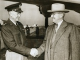 Pres Truman Seeing Gen Dwight Eisenhower Off to Paris  Where He Would Begin Organizing NATO