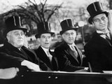 Pres Franklin Roosevelt with Secretarial Staff in Top Hats When Pres Made His State of Union Speech