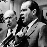 Pres Richard Nixon and Attorney General John Mitchell and Group of Visiting US Attorneys