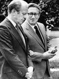 President Gerald Ford Listens to Secretary of State Henry Kissinger  Aug 16  1974