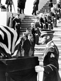 Jacqueline Kennedy in a Widow's Veil  Watches as Coffin of Pres John Kennedy  Is Placed on Caisson