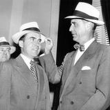 Senator Prescott Bush Presents a New Straw Hat to Vice President Richard Nixon