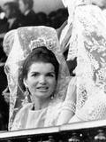 Jacqueline Kennedy Wears a Traditional Lace Mantilla to Bullfights in Seville  Spain  Apr 21  1966