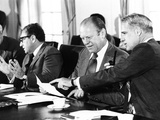 Gerald Ford at a Cabinet Meeting During His First Month as President