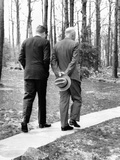 Pres Dwight Eisenhower and John Kennedy after Failed Bay of Pigs Invasion  Camp David  Apr 22  1961