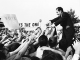 Richard Nixon  Republican Presidential Nominee  Reaches Back to the Sea of Supporters' Hands