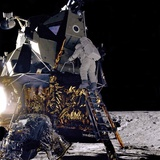 Apollo 12 Astronaut Alan Bean Starts Down Ladder of Lunar Module &#39;Intrepid&#39;