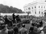 President Hoover Speaks at the White House Conference for Assistance to the Unemployed