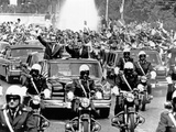 Pres Richard Nixon and Pres Nicolae Ceausescu and Crowd During Motorcade in Bucharest  Aug 2  1969