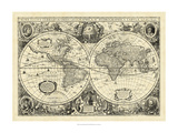 Vintage World Map Reproduction d'art