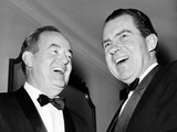 Vice President Hubert Humphrey and Former VP Richard Nixon Wearing Tuxedos  1965