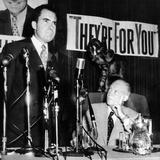 GOP Presidential Candidate Dwight Eisenhower Listens to His Running Mate Sen Richard Nixon