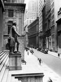 Wall Street Is Virtually Deserted in Front of the US Sub-Treasury Building