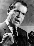 Republican Presidential Candidate Richard Nixon Speaking with a Clenched Fist on April 20  1968