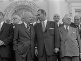 Pres Dwight D Eisenhower with Senate Majority Leader Lyndon Johnson During Luncheon  Mar 31  1955