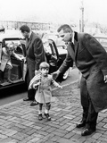 Young John and Caroline Kennedy with Secret Service Men Entering Temporary Home