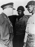 General Dwight Eisenhower Talking with Two African American Soldiers at Port of Cherbourg  France