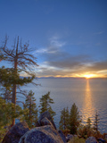 Sunset at Logan Shoals on the East Side of Lake Tahoe  Nevada  USA