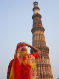 Indian Women at Qutb Minar (UNESCO World Heritage Site)  Delhi  India