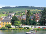A Yacht Sails by the Town of Traben-Trarbach  Germany