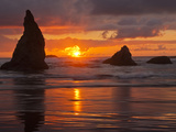 Sunset  Bandon Beach  Oregon  USA