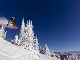 Snowboarding Action at Whitefish Mountain Resort in Whitefish  Montana  USA
