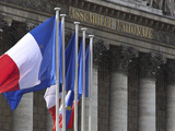 French Flags at the National Assembly Building  Paris  France