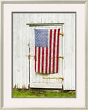 American Flag Draped on Barn Door