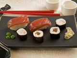 Sushi (Salmon Nigiri and Norimaki)  Wasabi Cream and Pickled Sushi Ginger Slice  Japan