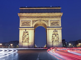 Evening Traffic around the Arc De Triomphe  Paris  France